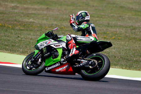 superbike: Misano Adriatico, Italy - June 21, 2015: Kawasaki ZX-10R of KAWASAKI RACING TEAM, driven by REA Jonathan in action during the Superbike Race 2 during the FIM Superbike World Championship - Race at Misano World Circuit on June 21, 2015 in Misano Adriatico, Editorial