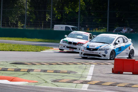 monza: Monza, Italy - May 30, 2015: Honda Civic of A.S.D. SUPER team, driven  by PICCIN Samuele - DALLANTONIA Romy during the C.I. Turismo Endurance - Race in Autodromo Nazionale di Monza Circuit on May 30, 2015 in Monza, Italy.