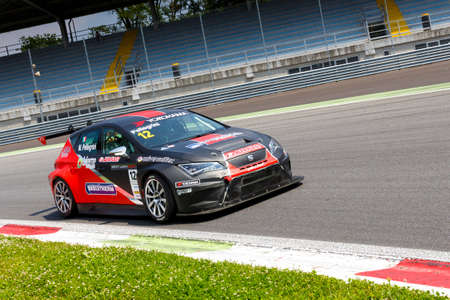 valentina: Monza, Italy - May 30, 2015: SEAT Leon Cup Racing of Dinamic driven  by PELLEGRINI Marco during the Seat Leon Cup - Race in Autodromo Nazionale di Monza Circuit on May 30, 2015 in Monza, Italy.