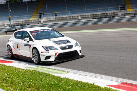 valentina: Monza, Italy - May 30, 2015: SEAT Leon Cup Racing of LRM team driven  by GURRIERI Raffaele during the Seat Leon Cup - Race in Autodromo Nazionale di Monza Circuit on May 30, 2015 in Monza, Italy. Editorial