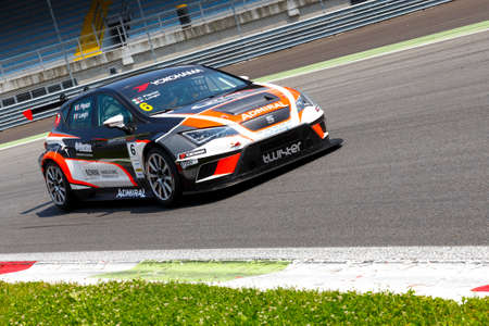 monza: Monza, Italy - May 30, 2015: SEAT Leon Cup Racing of Twister team driven  by PIGOZZI Davide - LONGHI Piero during the Seat Leon Cup - Race in Autodromo Nazionale di Monza Circuit on May 30, 2015 in Monza, Italy.