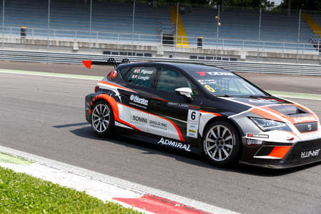 twister: Monza, Italy - May 30, 2015: SEAT Leon Cup Racing of Twister team driven  by PIGOZZI Davide - LONGHI Piero during the Seat Leon Cup - Race in Autodromo Nazionale di Monza Circuit on May 30, 2015 in Monza, Italy.