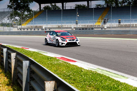 valentina: Monza, Italy - May 30, 2015: SEAT Leon Cup Racing of BD Racing Team driven  by NICOLA Baldan - GIACON Kevin  during the Seat Leon Cup - Race in Autodromo Nazionale di Monza Circuit on May 30, 2015 in Monza, Italy.