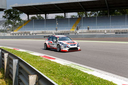 valentina: Monza, Italy - May 30, 2015: SEAT Leon Cup Racing of MM Motorsport team driven  by BETTERA Enrico  during the Seat Leon Cup - Race in Autodromo Nazionale di Monza Circuit on May 30, 2015 in Monza, Italy.