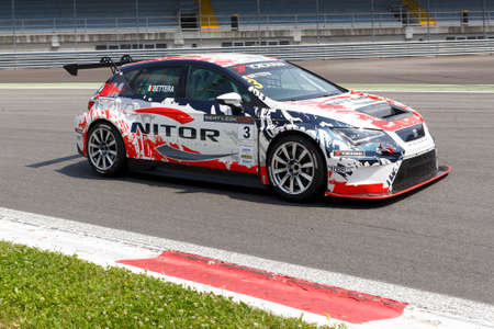 monza: Monza, Italy - May 30, 2015: SEAT Leon Cup Racing of MM Motorsport team driven  by BETTERA Enrico  during the Seat Leon Cup - Race in Autodromo Nazionale di Monza Circuit on May 30, 2015 in Monza, Italy.