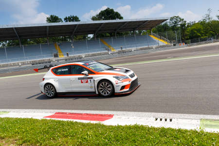 monza: Monza, Italy - May 30, 2015: SEAT Leon Cup Racing of Seat Motorsposrt driven  by SABBATINI Alberto during the Seat Leon Cup - Race in Autodromo Nazionale di Monza Circuit on May 30, 2015 in Monza, Italy.