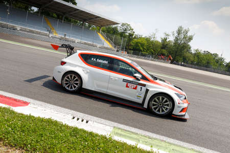 valentina: Monza, Italy - May 30, 2015: SEAT Leon Cup Racing of Seat Motorsposrt driven  by SABBATINI Alberto during the Seat Leon Cup - Race in Autodromo Nazionale di Monza Circuit on May 30, 2015 in Monza, Italy.
