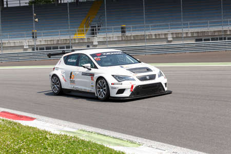 monza: Monza, Italy - May 30, 2015: SEAT Leon Cup Racing of LRM team driven  by GURRIERI Raffaele during the Seat Leon Cup - Race in Autodromo Nazionale di Monza Circuit on May 30, 2015 in Monza, Italy. Editorial