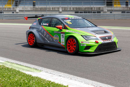 valentina: Monza, Italy - May 30, 2015: SEAT Leon Cup Racing of Dinamic team driven  by Zanini Stefano  during the Seat Leon Cup - Race in Autodromo Nazionale di Monza Circuit on May 30, 2015 in Monza, Italy.