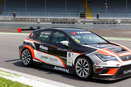 valentina: Monza, Italy - May 30, 2015: SEAT Leon Cup Racing of Twister team driven  by PIGOZZI Davide - LONGHI Piero during the Seat Leon Cup - Race in Autodromo Nazionale di Monza Circuit on May 30, 2015 in Monza, Italy.