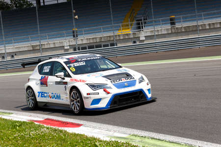 monza: Monza, Italy - May 30, 2015: SEAT Leon Cup Racing of MM Motorsport team driven  by NICOLA Baldan - GIACON Kevin   during the Seat Leon Cup - Race in Autodromo Nazionale di Monza Circuit on May 30, 2015 in Monza, Italy. Editorial
