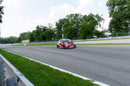 monza: Monza, Italy - May 30, 2015: Fiat 500 Abarth of ROMEO FERRARIS team, driven  by MILANI Matteo - FERRARIS Mario during the C.I. Turismo Endurance - Race in Autodromo Nazionale di Monza Circuit on May 30, 2015 in Monza, Italy. Editorial
