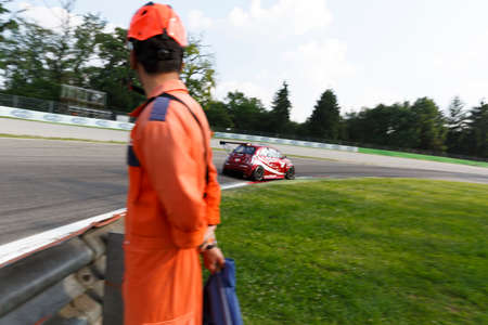 romeo: Monza, Italy - May 30, 2015: Fiat 500 Abarth of ROMEO FERRARIS team, driven  by MILANI Matteo - FERRARIS Mario during the C.I. Turismo Endurance - Race in Autodromo Nazionale di Monza Circuit on May 30, 2015 in Monza, Italy. Editorial