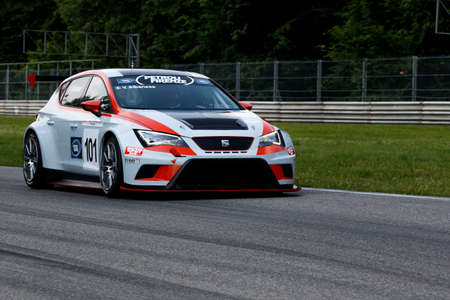valentina: Monza, Italy - May 30, 2015: SEAT Leon Racing of Seat team, driven  by Albanese Valentina during the C.I. Turismo Endurance - Race in Autodromo Nazionale di Monza Circuit on May 30, 2015 in Monza, Italy.