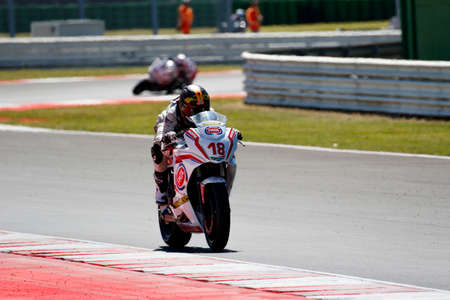 f 18: Misano Adriatico, Italy - June 21: Honda CBR 650F of Raless Properties Team, driven by KHUMALO Themba in action during the European Junior Cup  the FIM Superbike World Championship - Race at Misano World Circuit on June 21, 2015 in Misano Adriatico, Italy Editorial