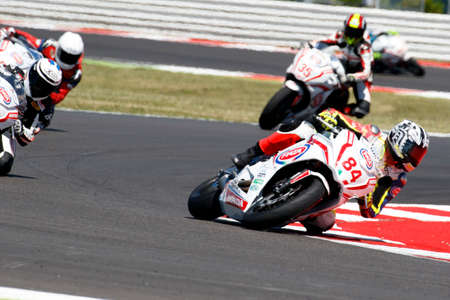 adriatico: Misano Adriatico, Italy - June 21: Honda CBR 650F of MVR Team Racing, driven by GRASSIA Paolo in action during the European Junior Cup Race at Misano World Circuit on June 21, 2015 in Misano Adriatico, Italy.