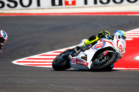 troy: Misano Adriatico, Italy - June 21: Honda CBR 650F of Into the Blue Diving  Team, driven by BEZUIDENHOUT Troy in action during the European Junior Cup Race at Misano World Circuit on June 21, 2015 in Misano Adriatico, Italy.