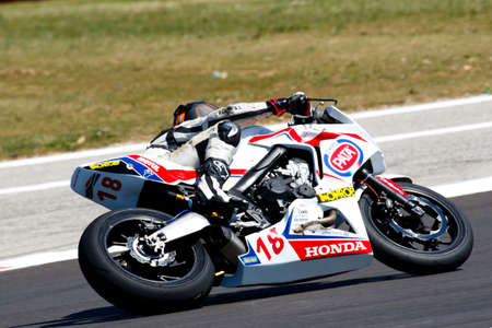 adriatico: Misano Adriatico, Italy - June 21: Honda CBR 650F of Raless Properties Team, driven by KHUMALO Themba in action during the European Junior Cup  the FIM Superbike World Championship - Race at Misano World Circuit on June 21, 2015 in Misano Adriatico, Italy Editorial