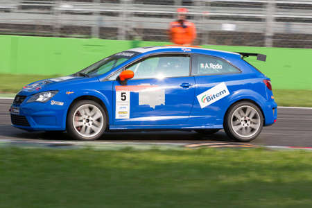 alberto: Monza, Italy - May 30, 2015: Seat Ibizia – Bd Racing Team, driven Rodio Alberto during the Seat Ibiza Cup - Race in Autodromo Nazionale di Monza Circuit on May 30, 2015 in Monza, Italy.