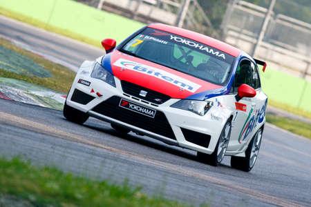 parole: Monza, Italy - May 30, 2015: Seat Ibizia – Girasole Team, driven Pelatti Sandro during the Seat Ibiza Cup - Race in Autodromo Nazionale di Monza Circuit on May 30, 2015 in Monza, Italy.