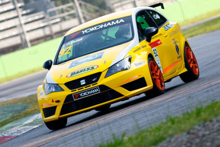monza: Monza, Italy - May 30, 2015: Seat Ibizia – Girasole Team, driven FEDELI Carlotta during the Seat Ibiza Cup - Race in Autodromo Nazionale di Monza Circuit on May 30, 2015 in Monza, Italy. Editorial