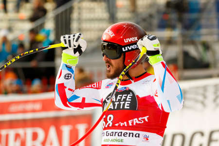 fis: Val Gardena, Italy 18 December 2015. FAYED Guillermo (Fra) competing in the Audi FIS Alpine Skiing World Cup Super-G race on the Saslong course in the Dolomite mountain range.
