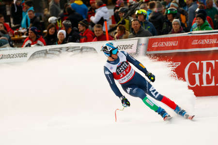 gardena: Val Gardena, Italy 18 December 2015. HEEL Werner (Ita) competing in the Audi FIS Alpine Skiing World Cup Super-G race on the Saslong course in the Dolomite mountain range.