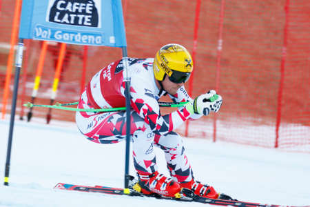 gardena: Val Gardena, Italy 18 December 2015. FRANZ Max (Aut) competing in the Audi FIS Alpine Skiing World Cup Super-G race on the Saslong course in the Dolomite mountain range.