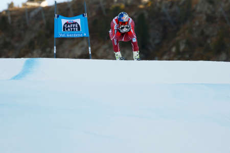fis: Val Gardena, Italy 18 December 2015. SVINDAL Aksel Lund (Nor) competing in the Audi FIS Alpine Skiing World Cup Super-G race on the Saslong course in the Dolomite mountain range.