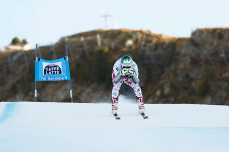 gardena: Val Gardena, Italy 18 December 2015. STRIEDINGER Otmar (Aut) competing in the Audi FIS Alpine Skiing World Cup Super-G race on the Saslong course in the Dolomite mountain range. Editorial