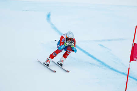 fis: Val Gardena, Italy 18 December 2015. GBIESEMEYER Thomas (Usa) competing in the Audi FIS Alpine Skiing World Cup Super-G race on the Saslong course in the Dolomite mountain range.