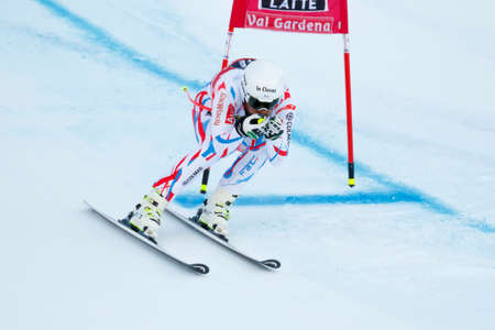 gardena: Val Gardena, Italy 18 December 2015. CLAREY Johan (Fra) competing in the Audi FIS Alpine Skiing World Cup Super-G race on the Saslong course in the Dolomite mountain range.