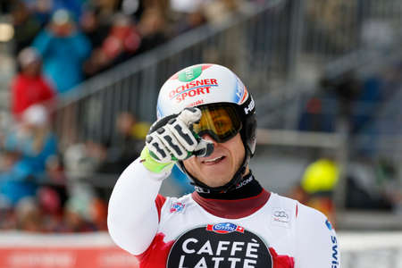 gardena: Val Gardena, Italy 18 December 2015. WEBER Ralph (Sui) competing in the Audi FIS Alpine Skiing World Cup Super-G race on the Saslong course in the Dolomite mountain range.