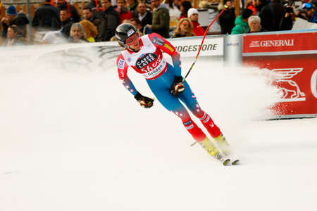 bennett: Val Gardena, Italy 18 December 2015. BENNETT Bryce  (Usa) competing in the Audi FIS Alpine Skiing World Cup Super-G race on the Saslong course in the Dolomite mountain range. Editorial