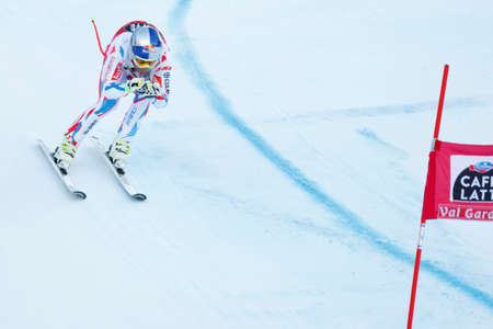 fis: Val Gardena, Italy 18 December 2015. PINTURAULT Alexis (Fra) competing in the Audi FIS Alpine Skiing World Cup Super-G race on the Saslong course in the Dolomite mountain range. Editorial
