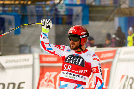 gardena: Val Gardena, Italy 18 December 2015. FAYED Guillermo (Fra) competing in the Audi FIS Alpine Skiing World Cup Super-G race on the Saslong course in the Dolomite mountain range.