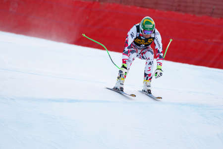klaus: Val Gardena, Italy 19 December 2015. Kroell Klaus (Aut) competing in the Audi Fis Alpine Skiing World Cup Mens Downhill Race on the Saslong Course in the dolomite mountain range.
