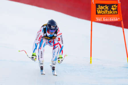 fis: Val Gardena, Italy 19 December 2015. Poisson David (Fra) competing in the Audi Fis Alpine Skiing World Cup Mens Downhill Race on the Saslong Course in the dolomite mountain range. Editorial