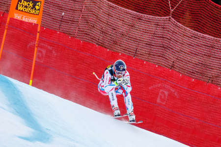 gardena: Val Gardena, Italy 19 December 2015. Muzaton Maxence (Fra) competing in the Audi Fis Alpine Skiing World Cup Mens Downhill Race on the Saslong Course in the dolomite mountain range.