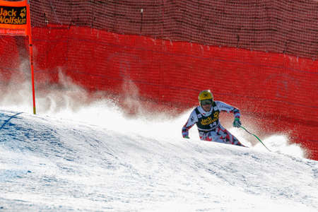franz: Val Gardena, Italy 19 December 2015. Franz Max (Aut) competing in the Audi Fis Alpine Skiing World Cup Mens Downhill Race on the Saslong Course in the dolomite mountain range.