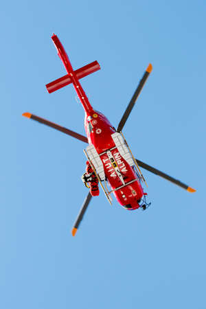 fis: Val Gardena, Italy 19 December 2015. Matthias Mayer of Austria is evacuated by helicopter during the FIS Alpine Skiing World Cup Mens Downhill Editorial