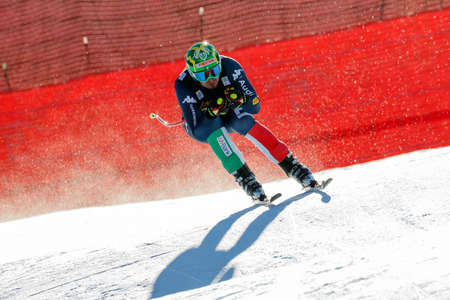 gardena: Val Gardena, Italy 19 December 2015. Paris Dominik (Ita) competing in the Audi Fis Alpine Skiing World Cup Mens Downhill Race on the Saslong Course in the dolomite mountain range.