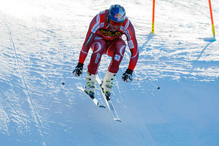 gardena: Val Gardena, Italy 19 December 2015. SVINDAL Aksel Lund (Nor) competing in the Audi Fis Alpine Skiing World Cup Mens Downhill Race on the Saslong Course in the dolomite mountain range. Editorial