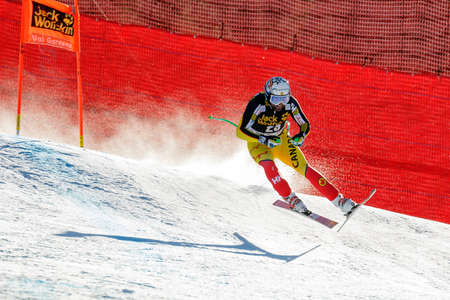 manuel: Val Gardena, Italy 19 December 2015. OSBORNE-PARADIS Manuel (Can) competing in the Audi Fis Alpine Skiing World Cup Mens Downhill Race on the Saslong Course in the dolomite mountain range. Editorial