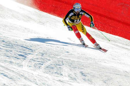 gardena: Val Gardena, Italy 19 December 2015. OSBORNE-PARADIS Manuel (Can) competing in the Audi Fis Alpine Skiing World Cup Mens Downhill Race on the Saslong Course in the dolomite mountain range. Editorial