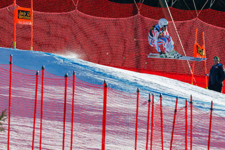 fis: Val Gardena, Italy 19 December 2015. Clarey Johan (Fra) competing in the Audi Fis Alpine Skiing World Cup Mens Downhill Race on the Saslong Course in the dolomite mountain range.