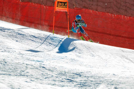 fis: Val Gardena, Italy 19 December 2015. Nyman Steven (Usa) competing in the Audi Fis Alpine Skiing World Cup Mens Downhill Race on the Saslong Course in the dolomite mountain range.