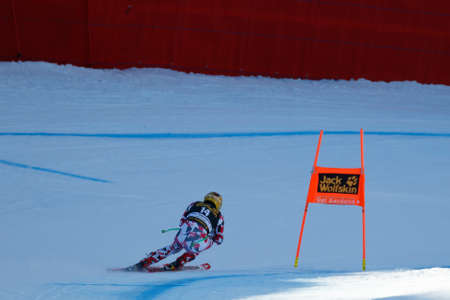 gardena: Val Gardena, Italy 19 December 2015. Franz Max (Aut) competing in the Audi Fis Alpine Skiing World Cup Mens Downhill Race on the Saslong Course in the dolomite mountain range.