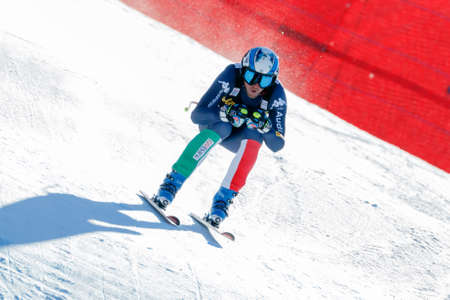 gardena: Val Gardena, Italy 19 December 2015. Heel Werner (Ita) competing in the Audi Fis Alpine Skiing World Cup Mens Downhill Race on the Saslong Course in the dolomite mountain range.