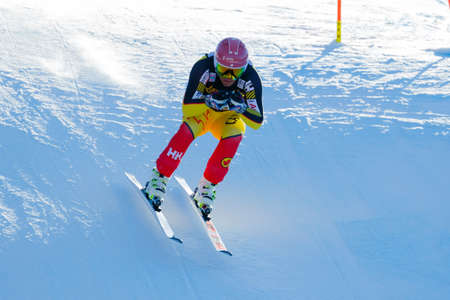 fis: Val Gardena, Italy 19 December 2015.  Thomsen Benjamin (Can) competing in the Audi Fis Alpine Skiing World Cup Mens Downhill Race on the Saslong Course in the dolomite mountain rang Editorial